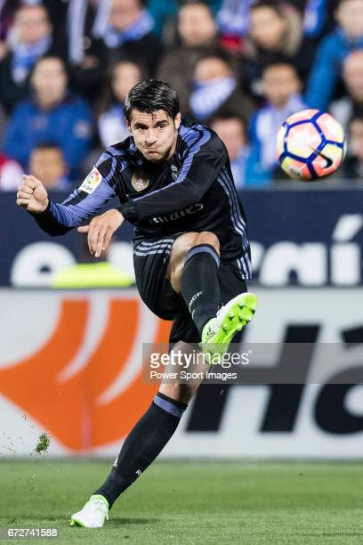 Alvaro Morata of Real Madrid in action during their La Liga match between Deportivo Leganes and Real Madrid at the Estadio Municipal Butarque on 05...