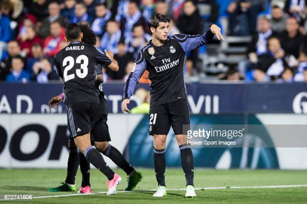 Alvaro Morata of Real Madrid reacts during their La Liga match between Deportivo Leganes and Real Madrid at the Estadio Municipal Butarque on 05...