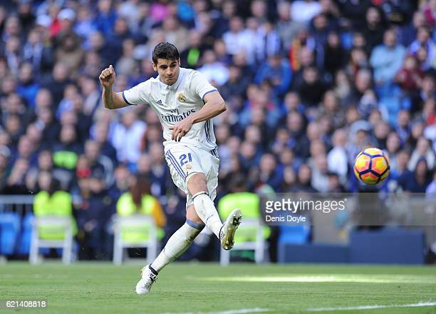 Alvaro Morata of Real Madrid scores his team's 3rd goal during the Liga match between Real Madrid CF and Leganes on November 6 2016 in Madrid Spain