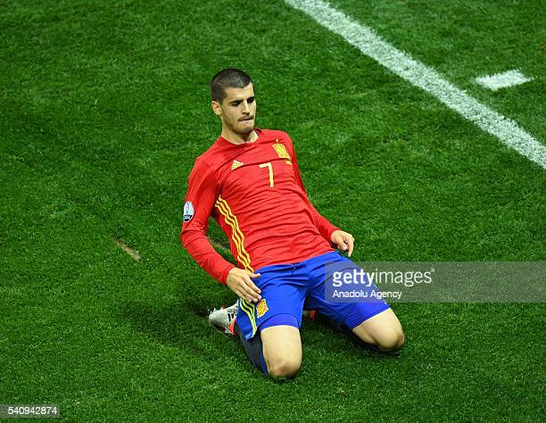 Alvaro Morata of Spain celebrates after scoring a goal during the UEFA Euro 2016 Group D football match between Spain and Turkey at Allianz Riviera...