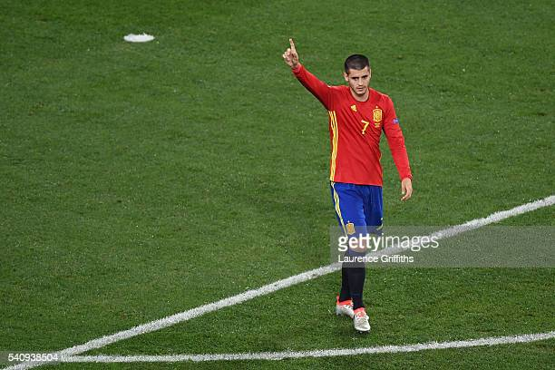 Alvaro Morata of Spain celebrates after scoring his second and his sides third goal during the UEFA EURO 2016 Group D match between Spain and Turkey...