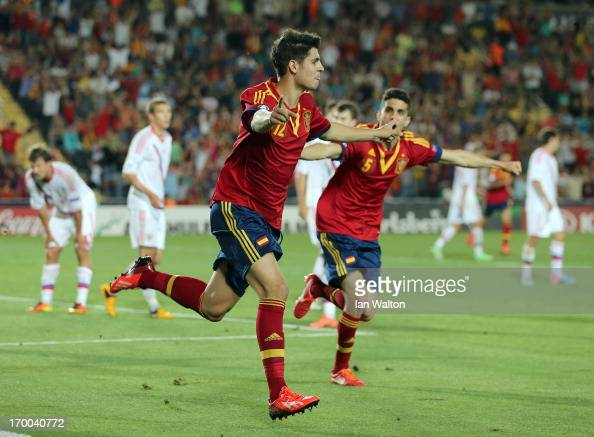 Alvaro Morata of Spain celebrates after scoring the openinig goal of the UEFA European U21 Championships Group B match between Spain and Russia at...
