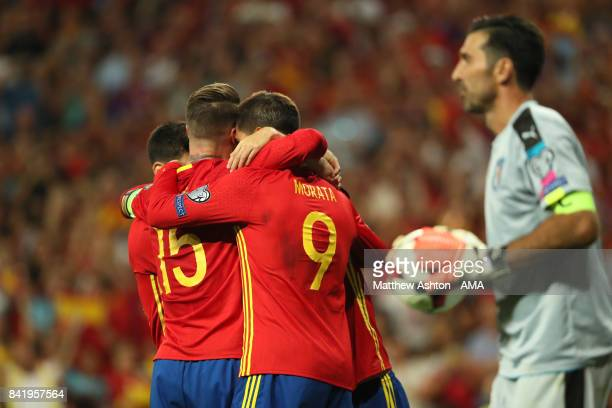 Alvaro Morata of Spain celebrates scoring a goal to make the score 30 during the FIFA 2018 World Cup Qualifier between Spain and Italy at Estadio...