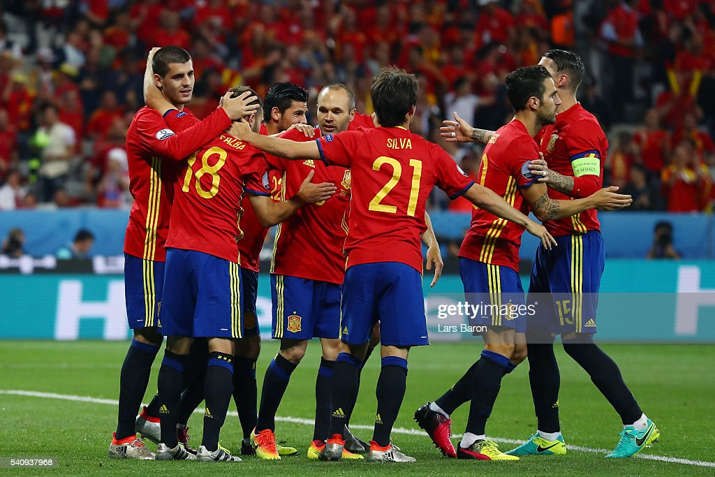 Alvaro Morata of Spain celebrates with team mates after scoring his second and his sides third goal during the UEFA EURO 2016 Group D match between Spain and Turkey at Allianz Riviera Stadium on June 17, 2016 in Nice, France.