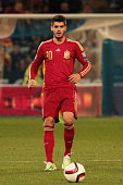 Alvaro Morata of Spain controls the ball during the UEFA EURO 2016 Group C Qualifier football match between Spain and Belarus at Nuevo Colombino...