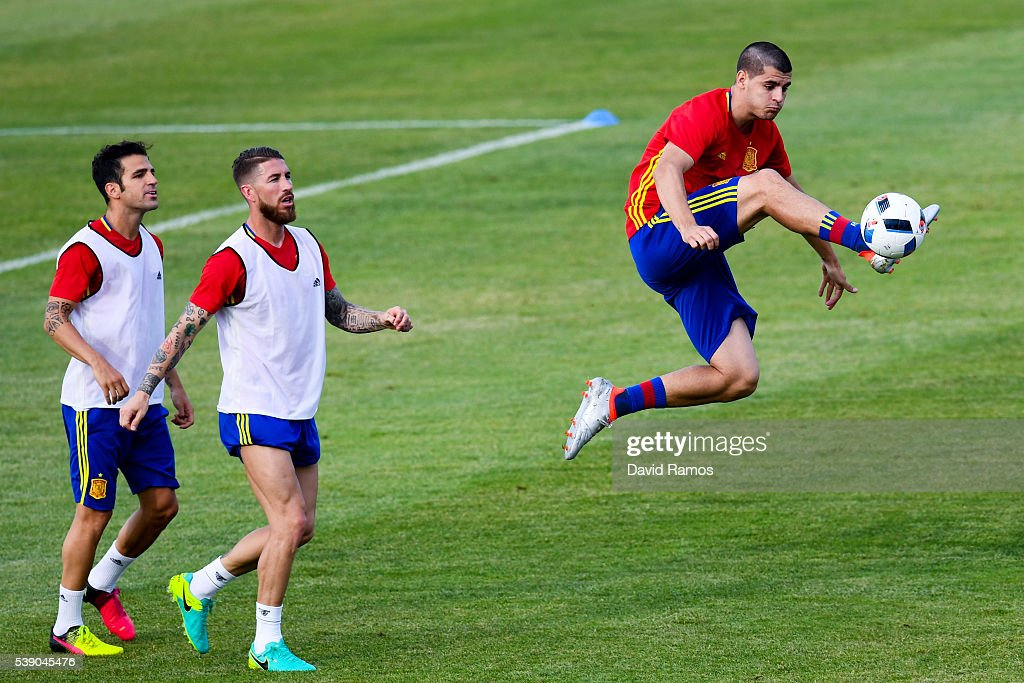 Alvaro Morata of Spain in action during a training session on June 9 2016 in La Rochelle France