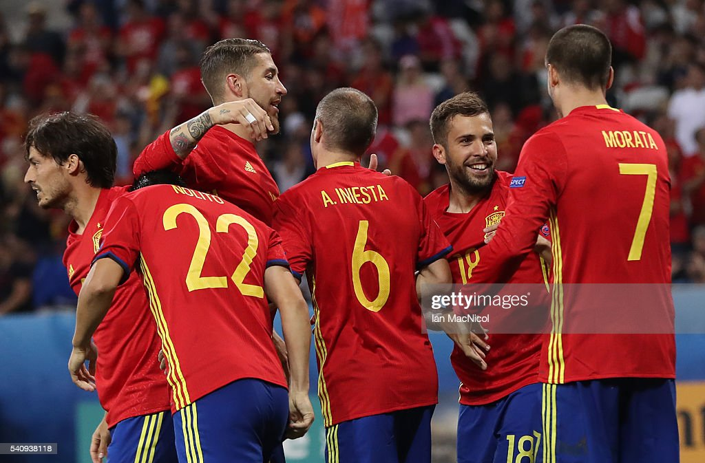 Alvaro Morata of Spain is congratulated by team mates after he scores his teams third goal during the UEFA EURO 2016 Group D match between Spain and Turkey at Allianz Riviera Stadium on June 17, 2016 in Nice, France.