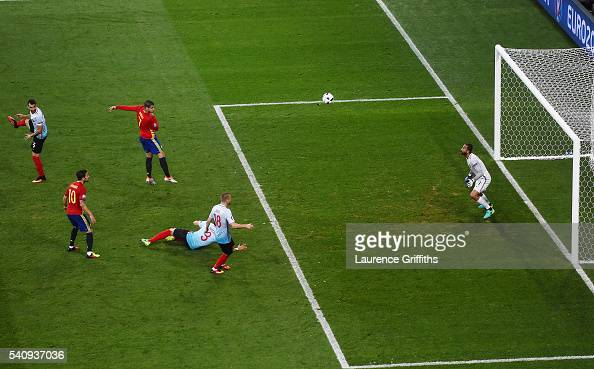 Alvaro Morata of Spain scores his sides first goal during the UEFA EURO 2016 Group D match between Spain and Turkey at Allianz Riviera Stadium on...