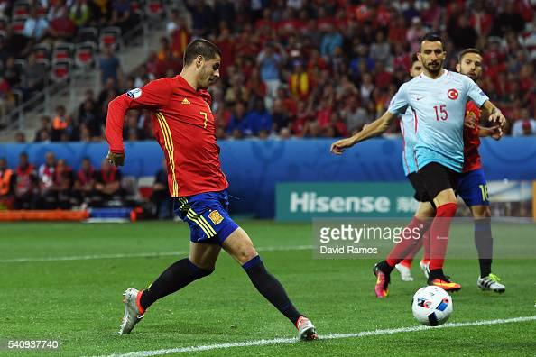Alvaro Morata of Spain scores his sides third and his second goal during the UEFA EURO 2016 Group D match between Spain and Turkey at Allianz Riviera...