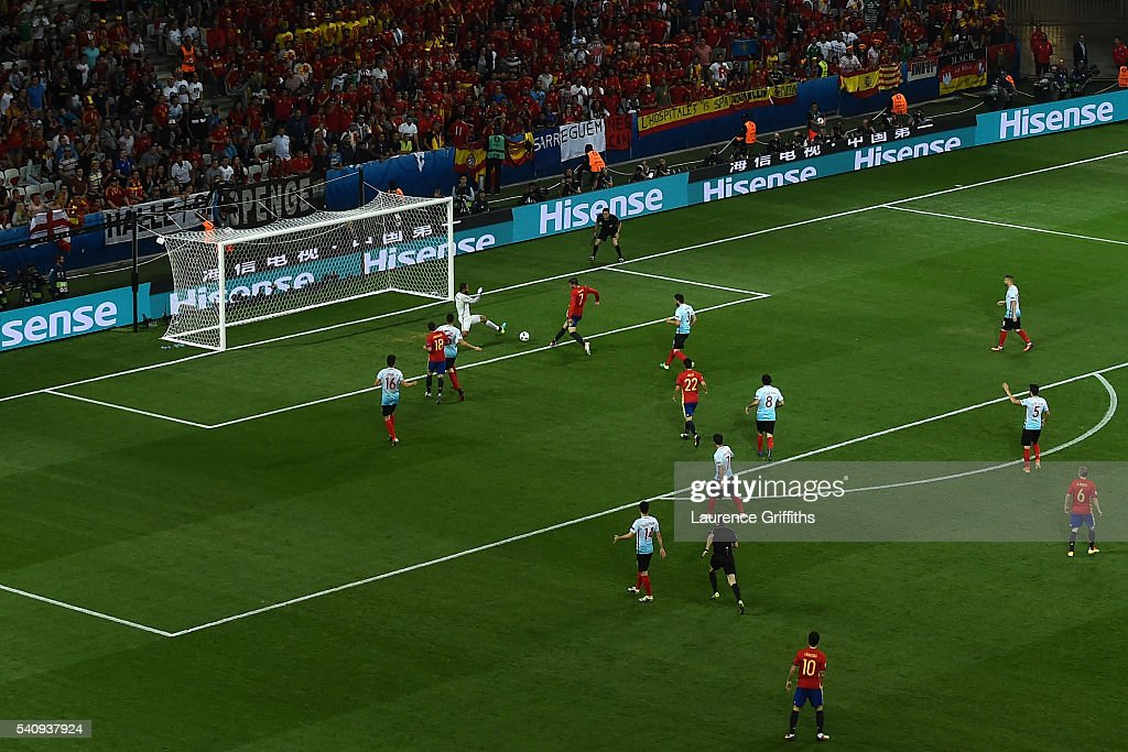 Alvaro Morata of Spain scores his sides third and his second goal past Volkan Babacan of Turkey during the UEFA EURO 2016 Group D match between Spain and Turkey at Allianz Riviera Stadium on June 17, 2016 in Nice, France.