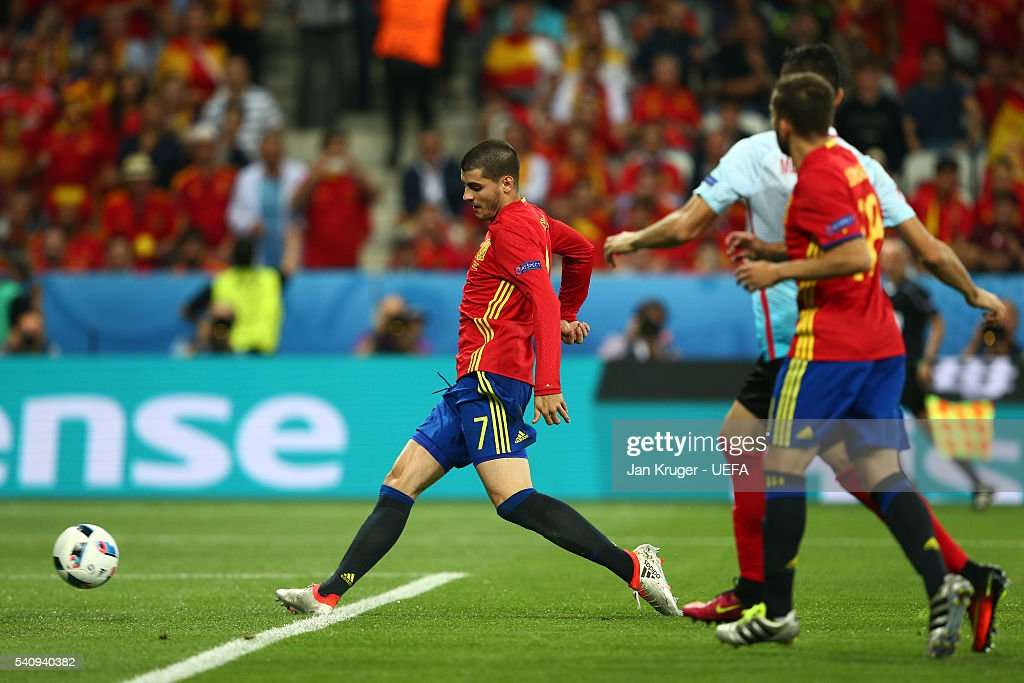 Alvaro Morata of Spain scores his sides third and his second goal during the UEFA EURO 2016 Group D match between Spain and Turkey at Allianz Riviera Stadium on June 17, 2016 in Nice, France.