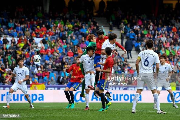 Alvaro Morata of Spain scores his team's fourth goal during an international friendly match between Spain and Korea at the Red Bull Arena stadium on...