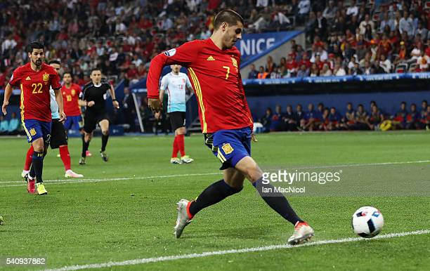 Alvaro Morata of Spain scores his teams third goal during the UEFA EURO 2016 Group D match between Spain and Turkey at Allianz Riviera Stadium on...