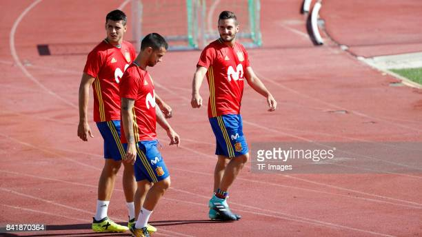 Alvaro Morata of Spain Suso of Spain and Koke Resurreccion of Spain looks on during a training session on August 31 2017 in Madrid Spain