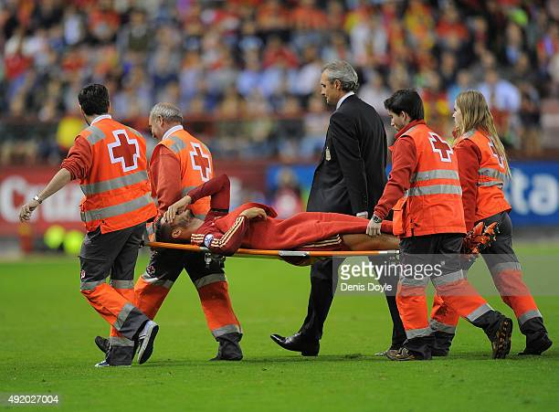 Alvaro Morata of Spain taken off injured during the UEFA EURO 2016 Qualifier group C match between Spain and Luxembourg at Estadio Municipal Las...