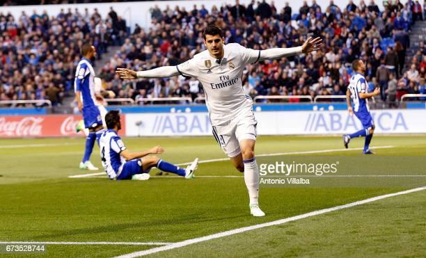 Alvaro Morata os Real Madrid celebrates after scoring goal durin the La Liga match between RC Deportivo La Coruna and Real Madrid at Riazor Stadium...