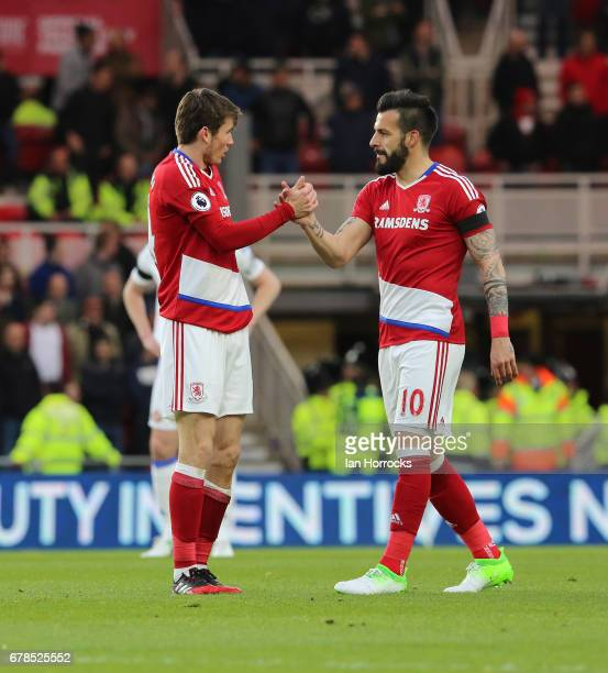 Alvaro Negrado of Middlesbrough celebrates Marten De Roon scoring the only goal during the Premier League match between Middlesbrough FC and...