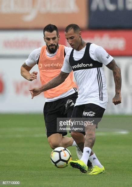 Alvaro Negredo and Ricardo Quaresma of Besiktas attend a training session ahead of the Turkish Spor Toto Super Lig new season match between Besiktas...