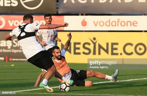 Alvaro Negredo of Besiktas attends a training session ahead of the Turkish Spor Toto Super Lig new season match between Besiktas and Antalyaspor at...