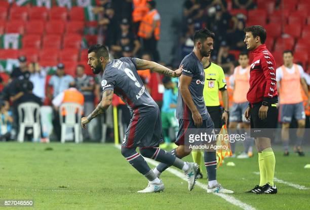 Alvaro Negredo of Besiktas enters the pitch during the Turkcell Super Cup match between Besiktas and Atiker Konyaspor at Samsun New 19 Mays Stadium...