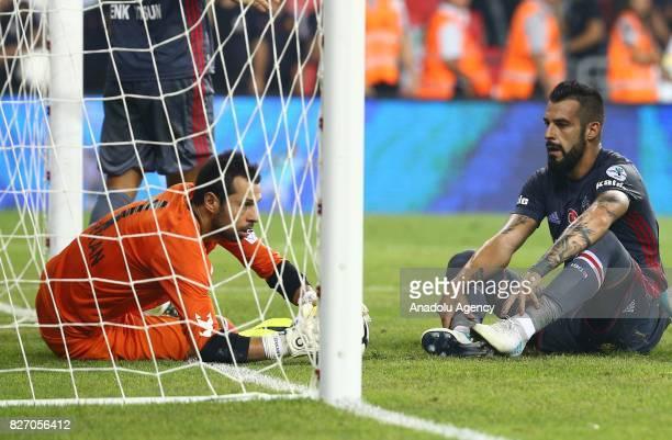 Alvaro Negredo of Besiktas gestures after his team lost at the end of the Turkcell Super Cup match between Besiktas and Atiker Konyaspor at Samsun...