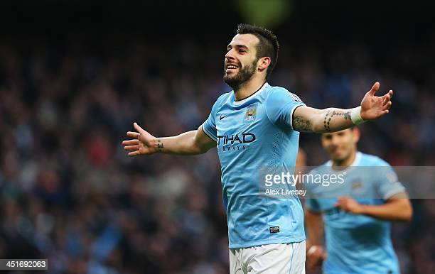 Alvaro Negredo of Manchester City celebrates his team's fifth goal during the Barclays Premier League match between Manchester City and Tottenham...