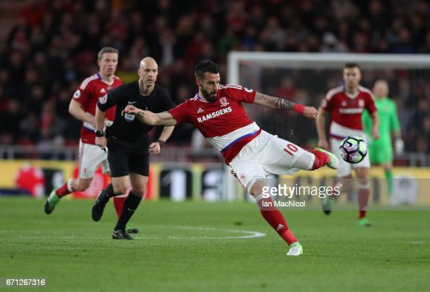 Alvaro Negredo of Middlesborough shoots at goal during the Premier League match between Middlesbourgh and Arsenal at Riverside Stadium on April 17...