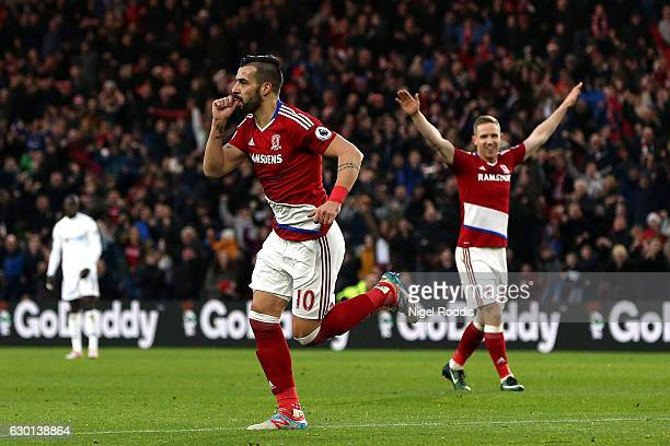 Alvaro Negredo of Middlesbrough celebrates scoring his sides first goal during the Premier League match between Middlesbrough and Swansea City at...