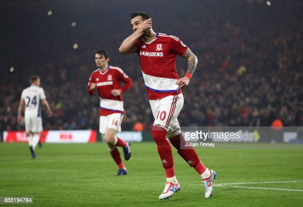 Alvaro Negredo of Middlesbrough celebrates scoring his side's first goal to make it 11 from the penalty spot during the Premier League match between...
