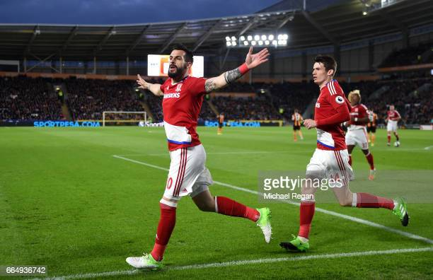 Alvaro Negredo of Middlesbrough celebrates scoring his sides first goal during the Premier League match between Hull City and Middlesbrough at the...