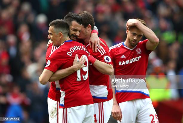Alvaro Negredo of Middlesbrough celebrates scoring his sides first goal with his Middlesbrough team mates during the Premier League match between...