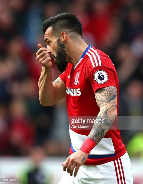 Alvaro Negredo of Middlesbrough celebrates scoring his sides first goal during the Premier League match between Middlesbrough and Manchester City at...