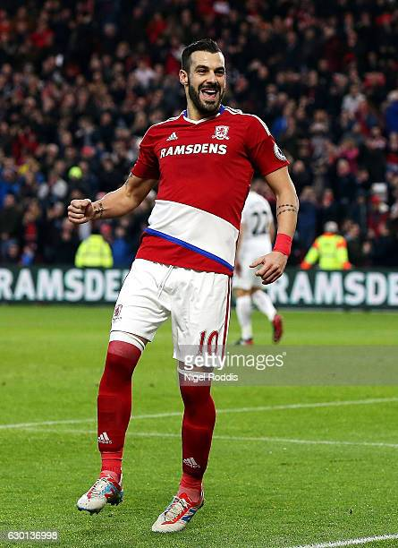 Alvaro Negredo of Middlesbrough celebrates scoring his sides second goal during the Premier League match between Middlesbrough and Swansea City at...