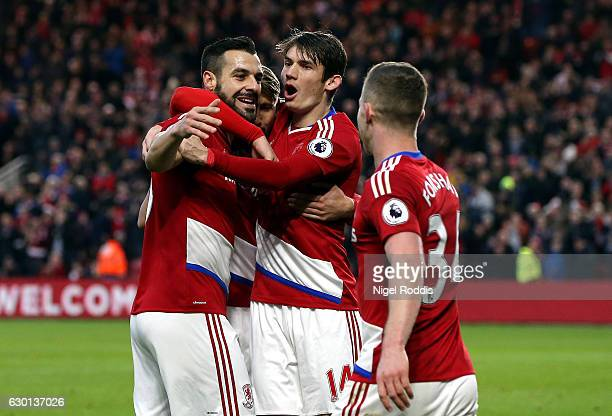 Alvaro Negredo of Middlesbrough celebrates scoring his sides second goal with his Middlesbrough team mates during the Premier League match between...