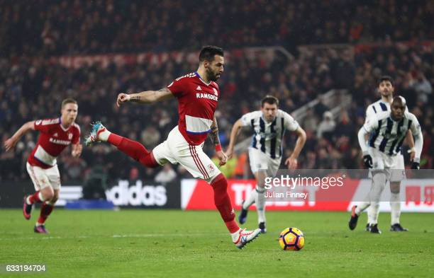 Alvaro Negredo of Middlesbrough converts the penalty to score his side's first goal to make it 11 during the Premier League match between...