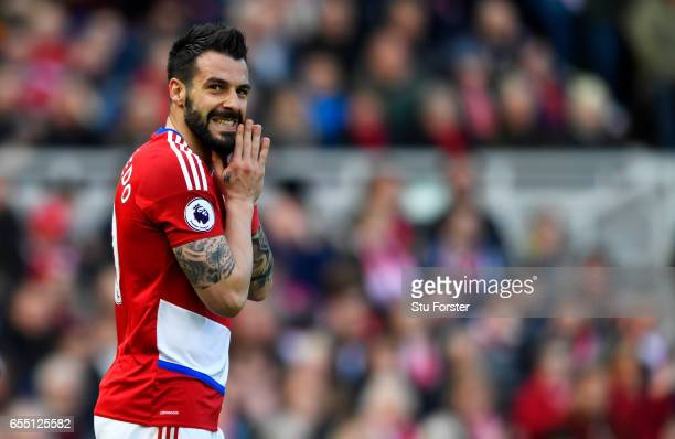 Alvaro Negredo of Middlesbrough reacts to missing a chance during the Premier League match between Middlesbrough and Manchester United at Riverside...