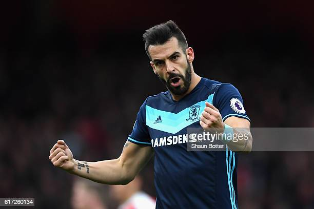 Alvaro Negredo of Middlesbrough reacts to the final whistle during the Premier League match between Arsenal and Middlesbrough at the Emirates Stadium...
