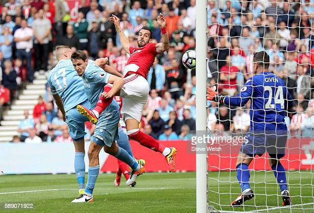 Alvaro Negredo of Middlesbrough scores his sides first goal during the Premier League match between Middlesbrough and Stoke City at Riverside Stadium...