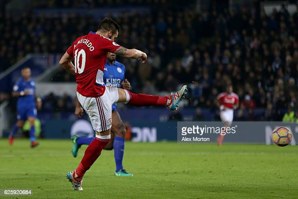Alvaro Negredo of Middlesbrough scores his team's second goal during the Premier League match between Leicester City and Middlesbrough at The King...