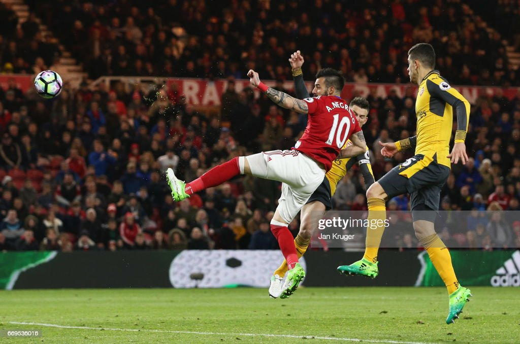 Alvaro Negredo of Middlesbrough (10) scores their first goal during the Premier League match between Middlesbrough and Arsenal at Riverside Stadium on April 17, 2017 in Middlesbrough, England.
