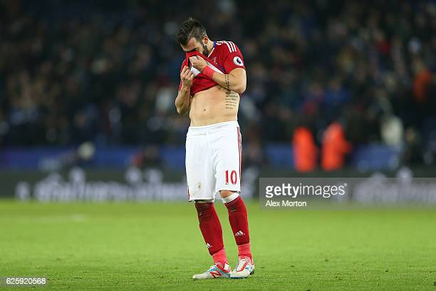 Alvaro Negredo of Middlesbrough shows his dejection after the 22 draw in the Premier League match between Leicester City and Middlesbrough at The...