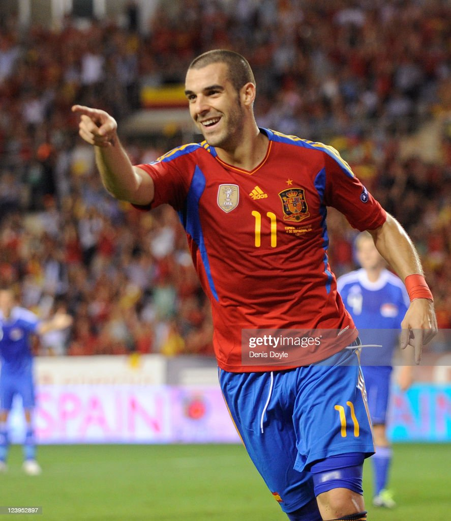 <a gi-track='captionPersonalityLinkClicked' href=/galleries/search?phrase=Alvaro+Negredo&family=editorial&specificpeople=4085785 ng-click='$event.stopPropagation()'>Alvaro Negredo</a> of Spain celebrates after scoring Spain's 2nd goal during the EURO 2012 Qualifier match between Spain and Liechtenstein at estadio Las Gaunas on September 6, 2011 in Logrono, Spain.