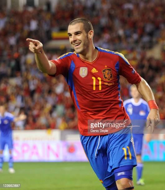 Alvaro Negredo of Spain celebrates after scoring Spain's 2nd goal during the EURO 2012 Qualifier match between Spain and Liechtenstein at estadio Las...