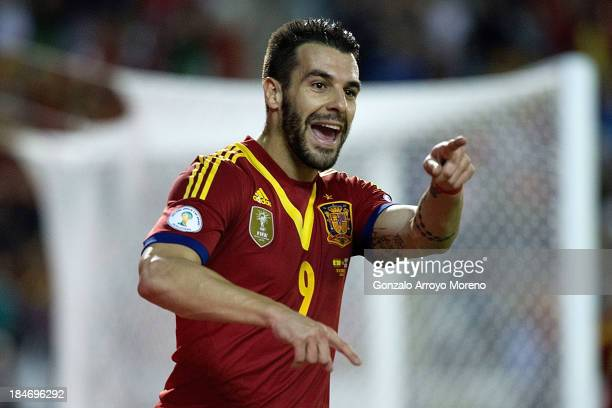 Alvaro Negredo of Spain celebrates scoring their opening goal during the FIFA 2014 World Cup Qualifier match between Spain and Georgia at Carlos...