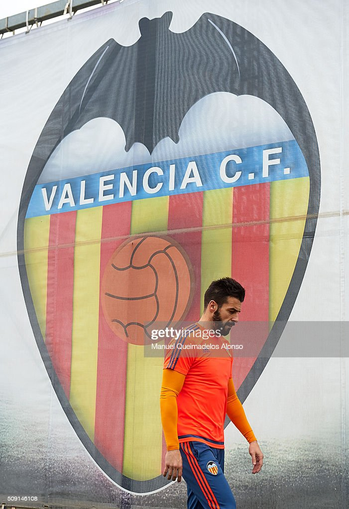 Alvaro Negredo of Valencia arrives for a Valencia CF training session ahead of Wednesday's Copa del Rey Semi Final, second leg match between Valencia CF and FC Barcelona at Paterna Training Centre on February 9, 2016 in Valencia, Spain.