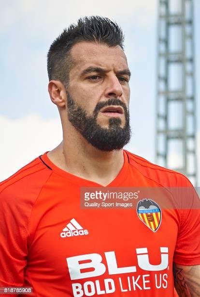 Alvaro Negredo of Valencia looks on during the preseason training session at Paterna Training Centre on July 19 2017 in Valencia Spain