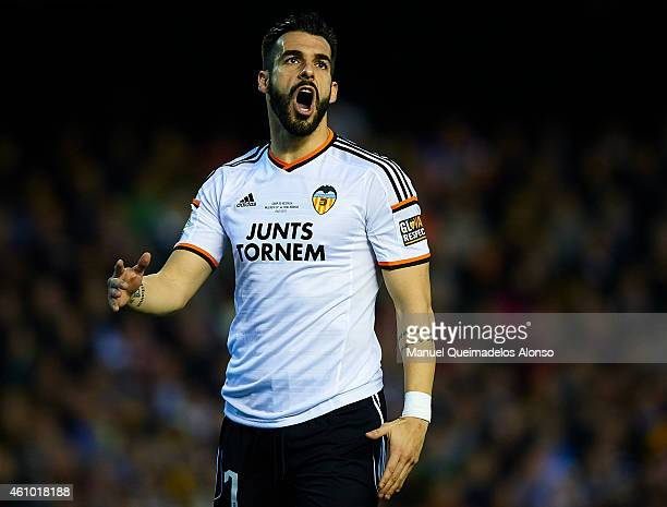 Alvaro Negredo of Valencia reacts as he fails to score during the La Liga match between Valencia CF and Real Madrid CF at Estadi de Mestalla on...
