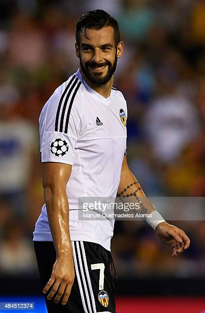 Alvaro Negredo of Valencia reacts during the UEFA Champions League Qualifying Round Play Off First Leg match between Valencia CF and AS Monaco at...