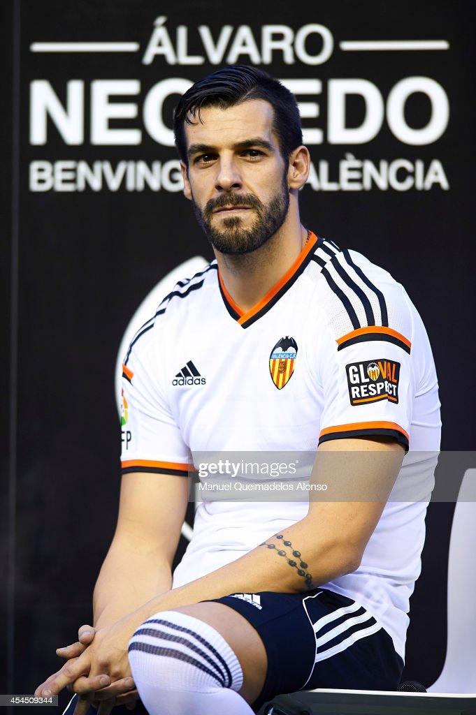 Alvaro Negredo poses during his presentation as a new player for Valencia CF at at Estadi de Mestalla on September 2 2014 in Valencia Spain