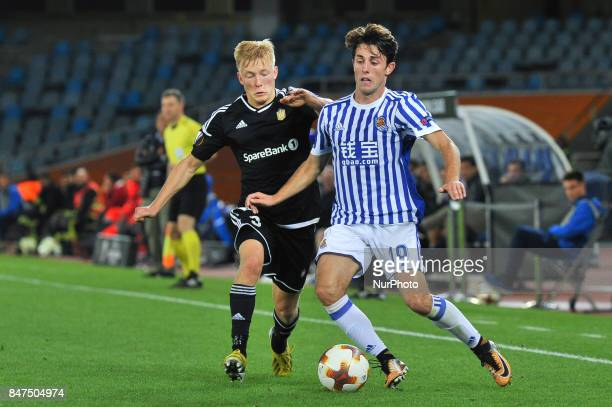 Alvaro Odriozola of Real Sociedad duels for the ball with Birger Meling of Rosenborg BK during the UEFA Europa League Group L football match between...